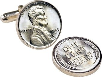 Coins: 1943 Lincoln Steel Penny Cuff Links
