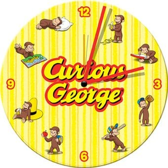 Curious George - 13.5 Cordless Wood Wall Clock