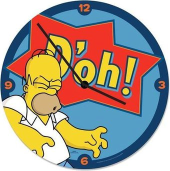 Simpsons - Doh: 13.5' Cordless Wood Wall Clock