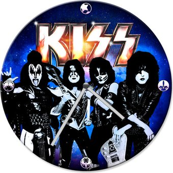 "KISS - 13.5"" Cordless Wood Wall Clock"