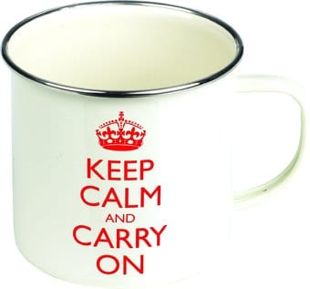 Keep Calm & Carry On - 15 oz. White & Red Enamel
