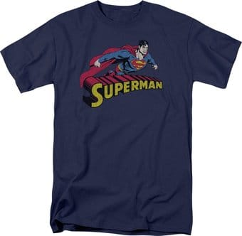 Superman - Flying Over Logo Distressed - T-Shirt