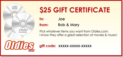 OLDIES.com Sample Gift Certificate