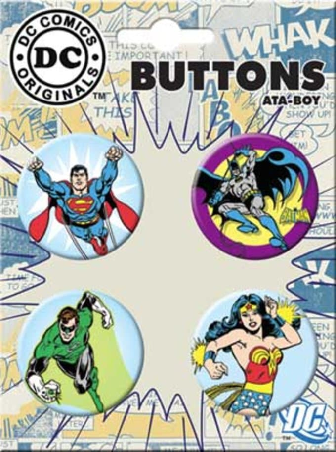 Heroes In Action - 4-Piece Round Button Set