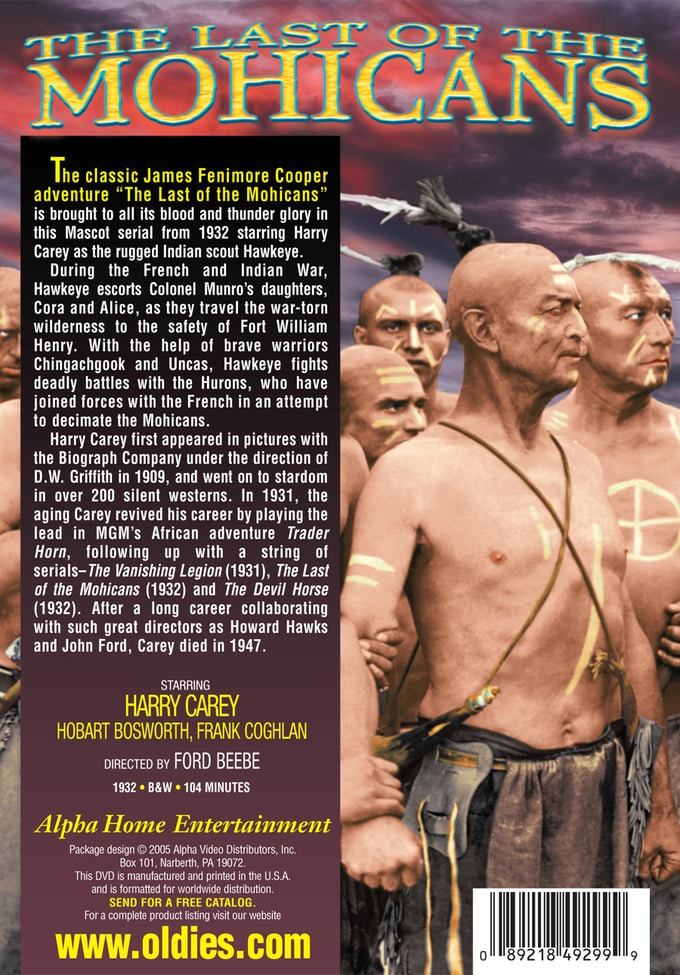 The Last Of The Mohicans Dvd R 1932 Directed By Ford
