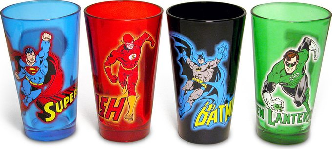 DC Comics - Action - 4-Piece 16 oz. Colored Pint
