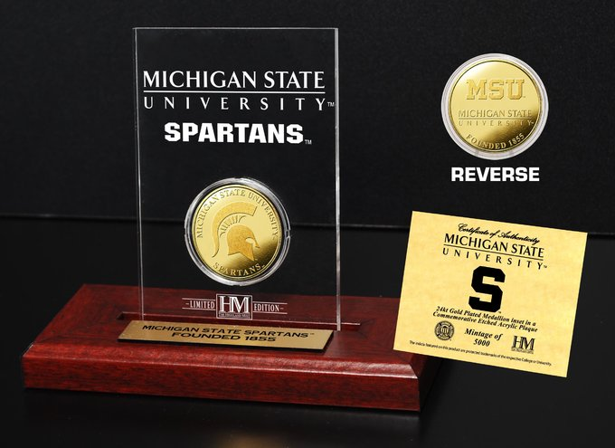 Michigan State University Gold Coin Etched Acrylic