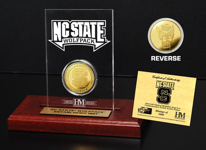 North Carolina State University Gold Coin Etched