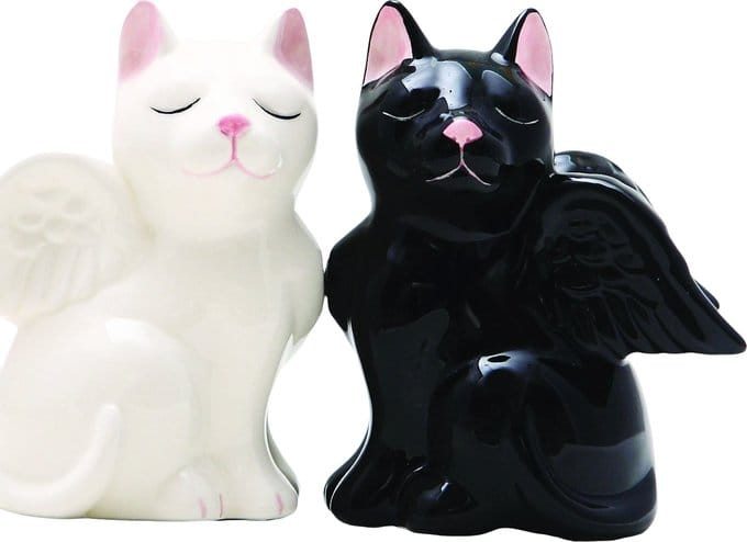 Angelic Cats - Magnetized Ceramic Salt & Pepper