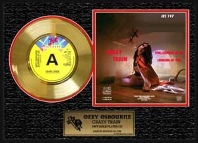 "Crazy Train: Framed 12""x16"" Gold Record (Limited"