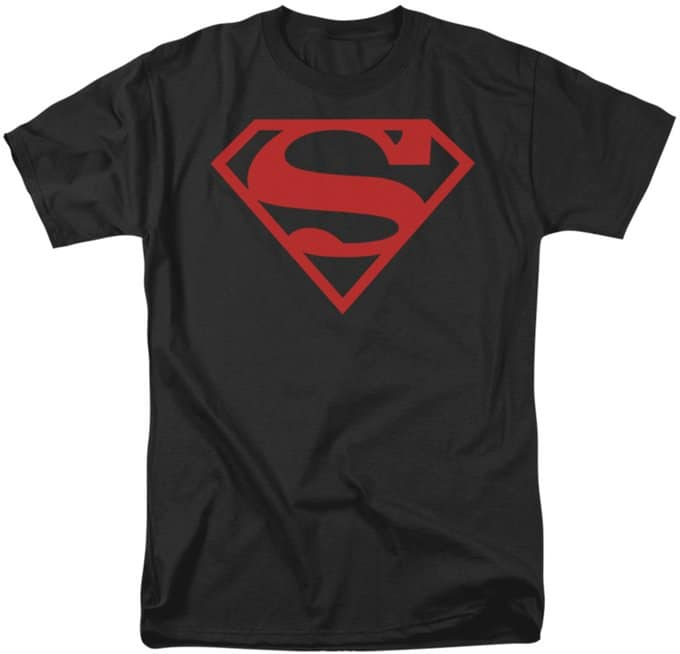 Superman - Red on Black Shield - T-Shirt