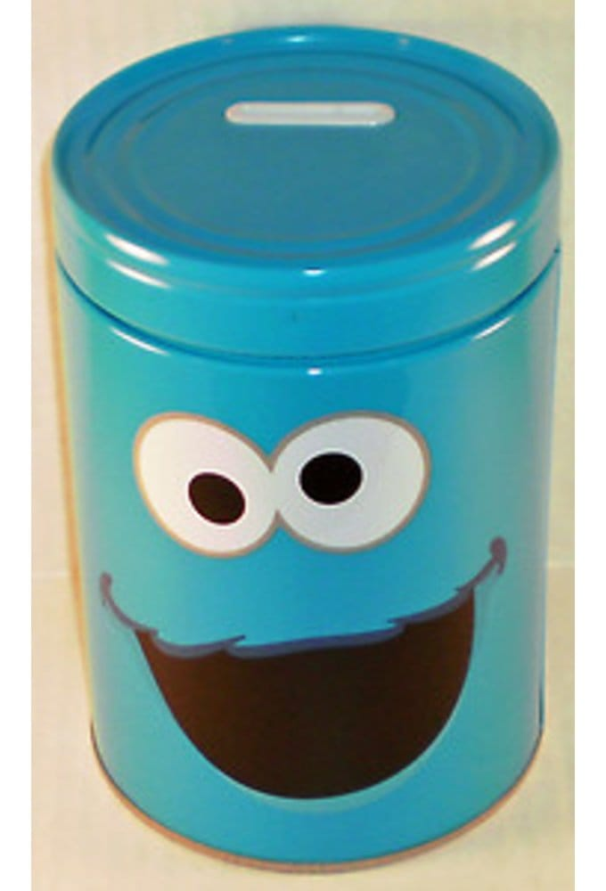 Cookie Monster Round Tin Money Bank